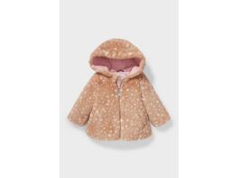Baby-Kunstfelljacke mit Kapuze